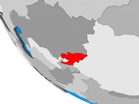 Kyrgyzstan on simple 3D globe. 3D illustration.