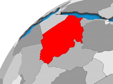 Sudan on 3D globe. 3D illustration.