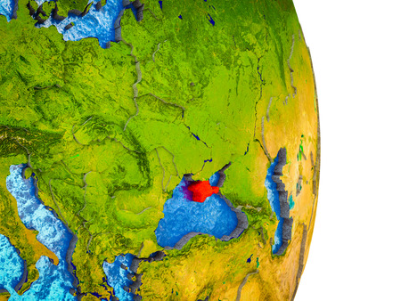 Crimea on 3D model of Earth with divided countries and blue oceans. 3D illustration.