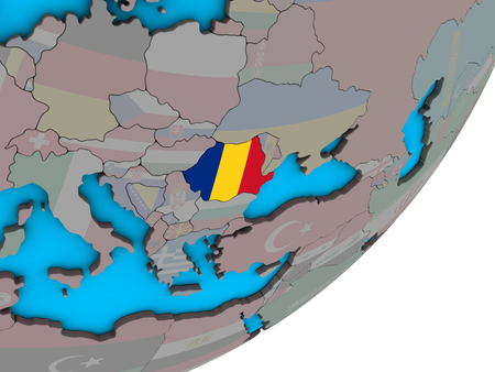 Romania with national flag on blue political 3D globe. 3D illustration. Banque d'images - 111085151