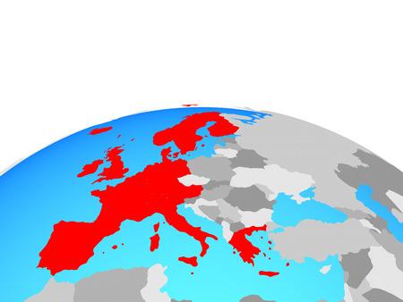 Western Europe on political globe. 3D illustration. Banco de Imagens