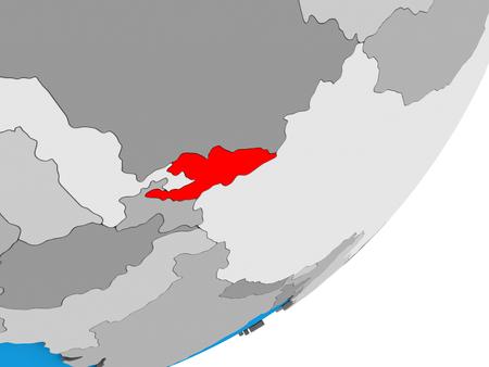 Kyrgyzstan on blue political 3D globe. 3D illustration.