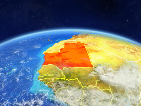Mauritania on planet Earth with country borders and highly detailed planet surface and clouds. 3D illustration. Фото со стока
