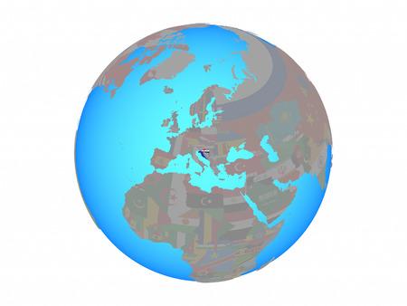 Croatia with national flag on blue political globe. 3D illustration isolated on white background.