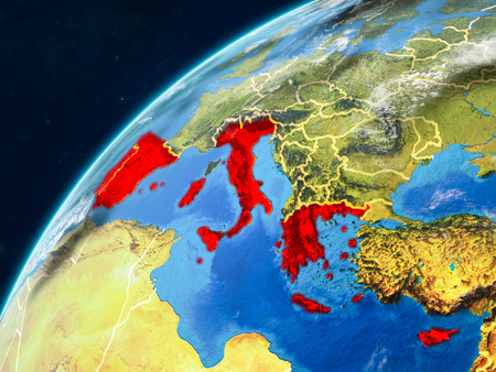 Southern Europe on realistic model of planet Earth with country borders and very detailed planet surface and clouds. 3D illustration.