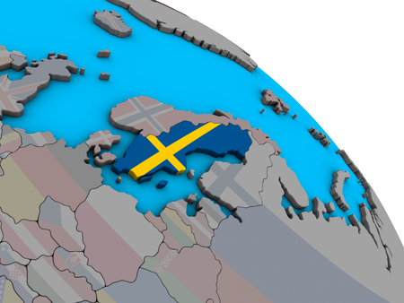 Sweden with embedded national flag on simple blue political 3D globe. 3D illustration.