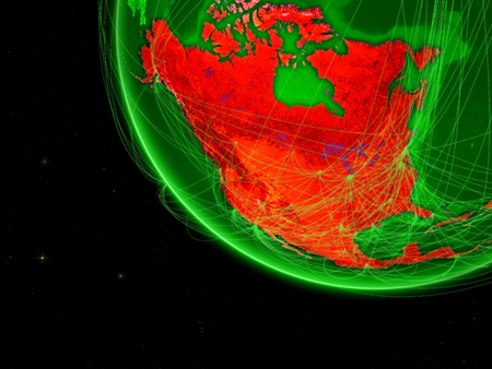 North America on green Earth with network. Concept of connectivity, internet or telecommunications. May also represent air traffic. 3D illustration.