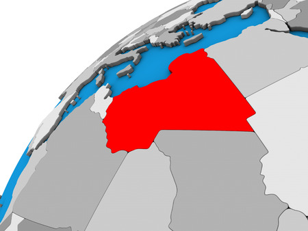 Libya on 3D globe. 3D illustration.