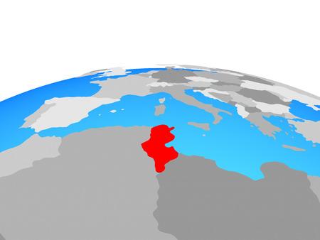 Tunisia on political globe. 3D illustration. Stockfoto