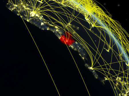 Guatemala from space on model of planet Earth at night with network. Concept of digital technology, connectivity and travel. 3D illustration.