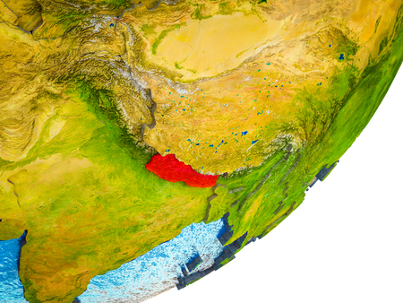 Nepal on 3D model of Earth with water and divided countries. 3D illustration. Фото со стока