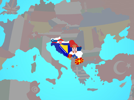 Former Yugoslavia with national flags on blue political globe. 3D illustration. Stock Photo