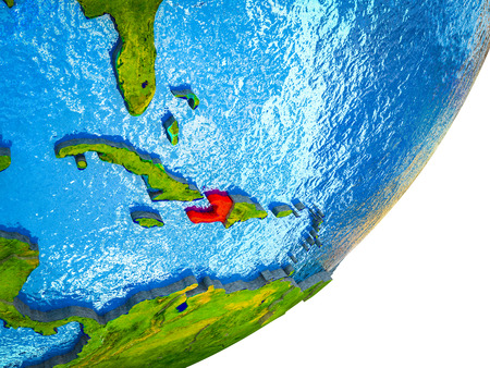 Haiti on 3D model of Earth with water and divided countries. 3D illustration. Stock Photo