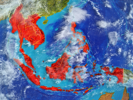 ASEAN member states from space on model of planet Earth with country borders. Extremely fine detail of planet surface and clouds. 3D illustration.