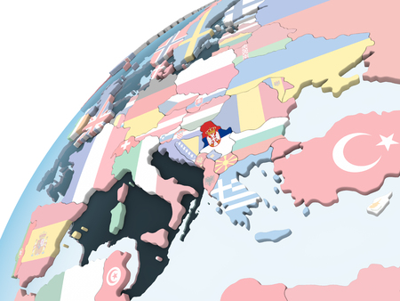 Serbia on bright political globe with embedded flag. 3D illustration.