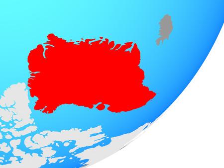 Greenland on blue political globe. 3D illustration.