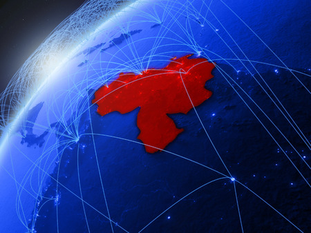 Venezuela on model of green planet Earth with international networks. Concept of blue digital communication and technology. 3D illustration.