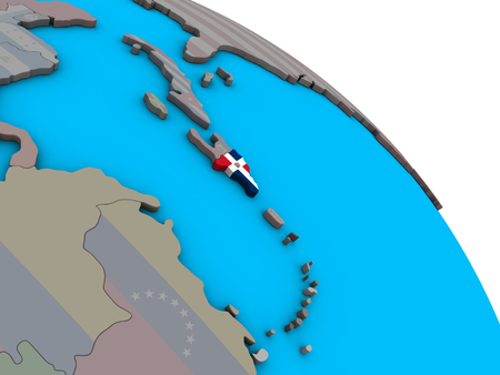 Dominican Republic with embedded national flag on simple blue political 3D globe. 3D illustration. 스톡 콘텐츠