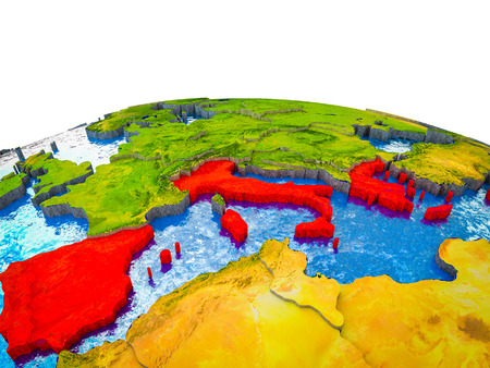 Southern Europe on 3D Earth with visible countries and blue oceans with waves. 3D illustration.