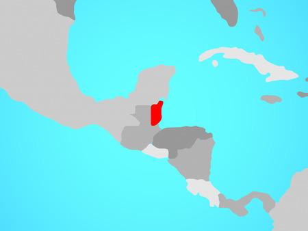 Belize on blue political globe. 3D illustration. Stock Photo