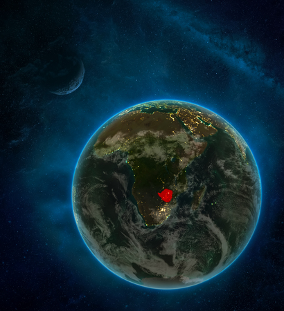 Zimbabwe from space on Earth at night surrounded by space with Moon and Milky Way. Detailed planet with city lights and clouds. 3D illustration.