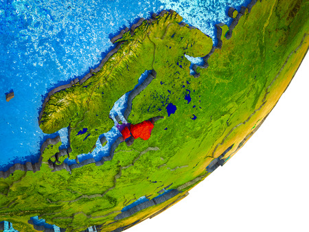 Estonia on 3D model of Earth with water and divided countries. 3D illustration. 写真素材