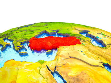 Turkey on 3D Earth with visible countries and blue oceans with waves. 3D illustration.