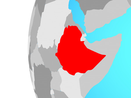 Ethiopia on blue political globe. 3D illustration. Banque d'images - 111033817