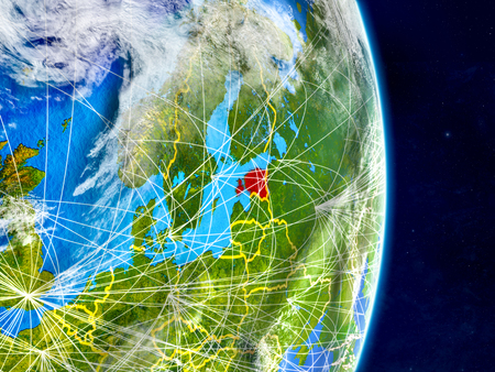 Estonia on planet Earth with networks. Extremely detailed planet surface and clouds. 3D illustration. Stock Photo