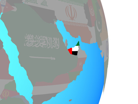 United Arab Emirates with national flag on simple political globe. 3D illustration.