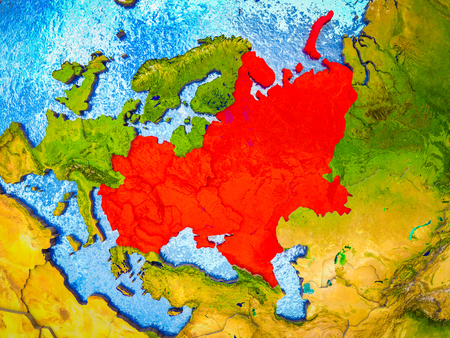 Eastern Europe on model of 3D Earth with blue oceans and divided countries. 3D illustration.