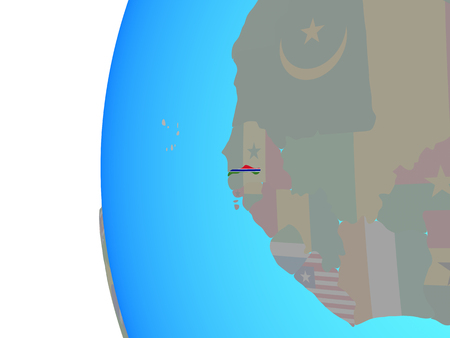 Gambia with embedded national flag on blue political globe. 3D illustration.