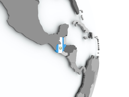 Guatemala on political globe with embedded flag. 3D illustration.