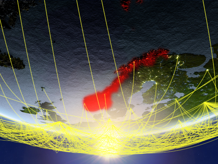 Norway on model of planet Earth in sunrise with network representing travel and communication. 3D illustration. Stock Photo