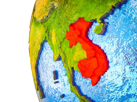 Indochina highlighted on 3D Earth with visible countries and watery oceans. 3D illustration.