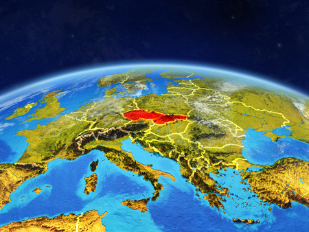 Former Czechoslovakia on planet Earth with country borders and highly detailed planet surface and clouds. 3D illustration.