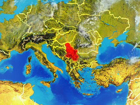 Serbia from space on model of planet Earth with country borders. Extremely fine detail of planet surface and clouds. 3D illustration.