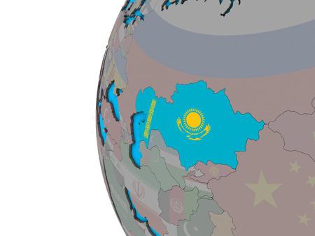 Kazakhstan with national flag on blue political 3D globe. 3D illustration. 写真素材
