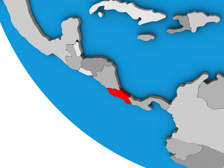 Costa Rica on simple 3D globe. 3D illustration. 写真素材