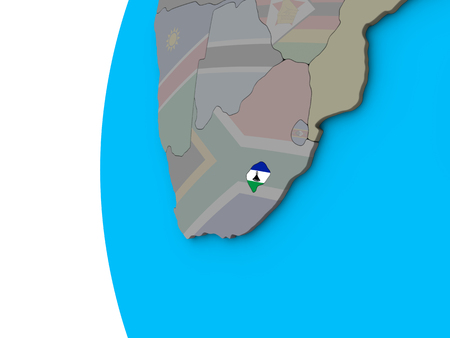 Lesotho with national flag on blue political 3D globe. 3D illustration. Stock Photo