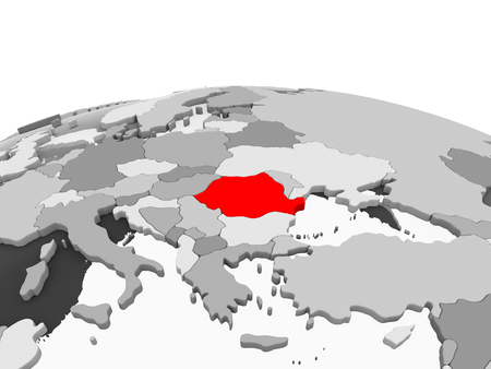 Romania in red on grey model of political globe with transparent oceans. 3D illustration.