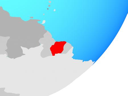 Suriname on blue political globe. 3D illustration.