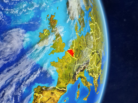 Belgium on planet planet Earth with country borders. Extremely detailed planet surface and clouds. 3D illustration.
