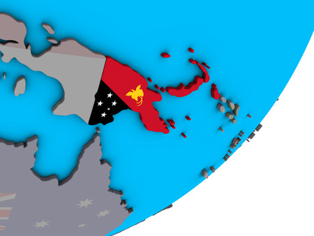 Papua New Guinea with national flag on blue political 3D globe. 3D illustration.