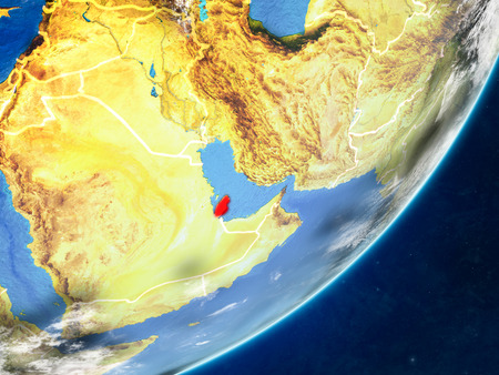 Qatar on model of planet Earth with country borders and very detailed planet surface and clouds. 3D illustration.