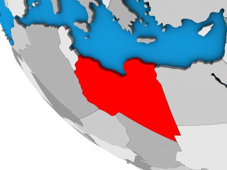Libya on simple 3D globe. 3D illustration. Stockfoto