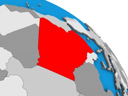 Algeria on simple blue political 3D globe. 3D illustration. Stock Photo
