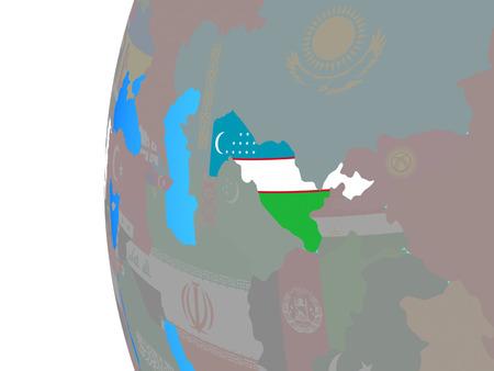 Uzbekistan with embedded national flag on blue political globe. 3D illustration.