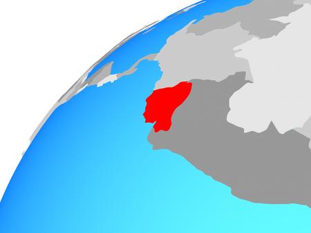 Ecuador on globe. 3D illustration.