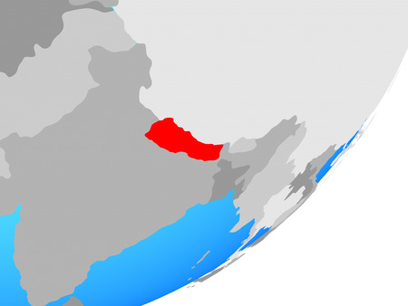 Nepal on blue political globe. 3D illustration.